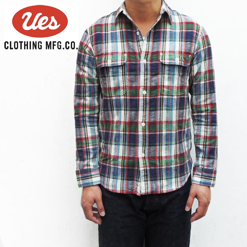 UES(ウエス) 追撚チェックシャツ /Col.ネイビー Lot.501601 ■日本製■