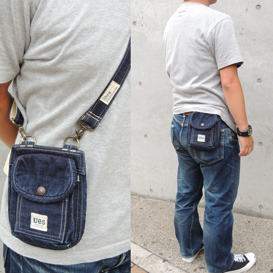 UES (WES) 2 WAY BOOK CARRY BAG / shoulder Pochette Bag (DENIM) Made in JAPAN