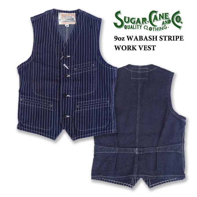 SC12654 ワークベスト 9oz WABASH STRIPE WORK VEST★ SUGAER CANE シュガーケーン