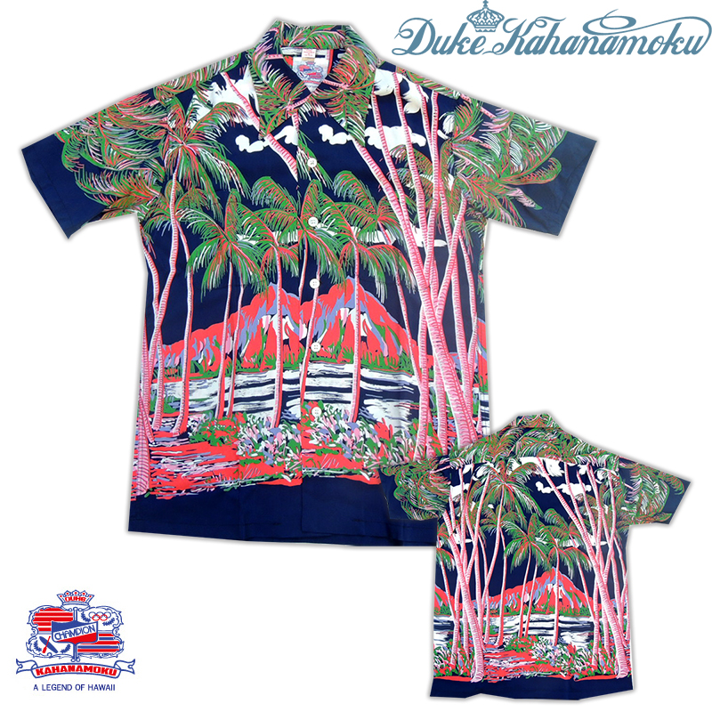 "Duke Kahanamoku(デューク・カハナモク)/ Special Edition ""COCONUT PALMS&DIAMOND HEAD"" Hawaiian Shirt (NAVY) Lot.DK36202 SUNSURF(サンサーフ)"