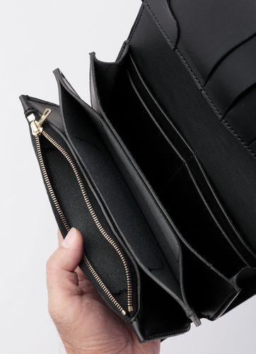 """革蛸☆KWATAKO JAPANG*WAKASHO KIKAKU Natural plant Tannin Saddle leather& KUROZAN Cowhide100% Long wallet """"般若HANNYA-CHOU""""Made in JAPAN*Monomagazine publication product"""
