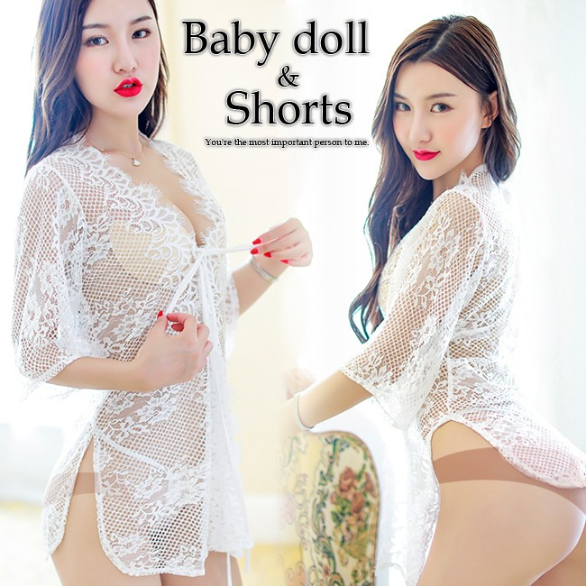 3ea878bd7 Baby doll   T back shorts baby doll sexy lingerie sexy lingerie shorts T  back shorts Tanga set total race race white  n