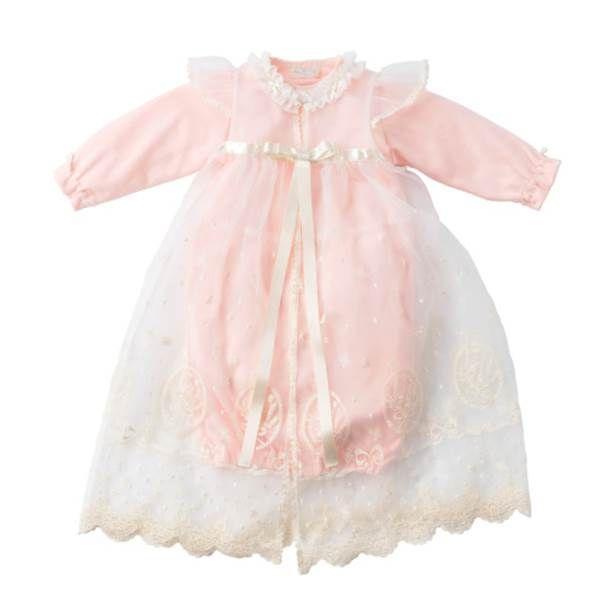 【お取り寄せ】クラシカルレースのセレモニードレスセット ピンク<YC031>【お返し かわいい おしゃれ 出産祝い】