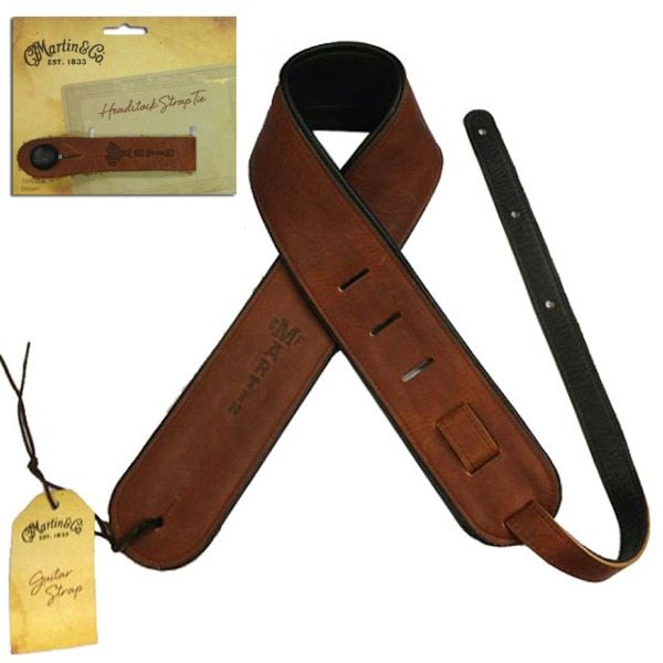 【ストラップボタン付】MARTIN/マーチン 18A0028 Premium Rolled Leather ギターストラップ ブラウン + 18A0032