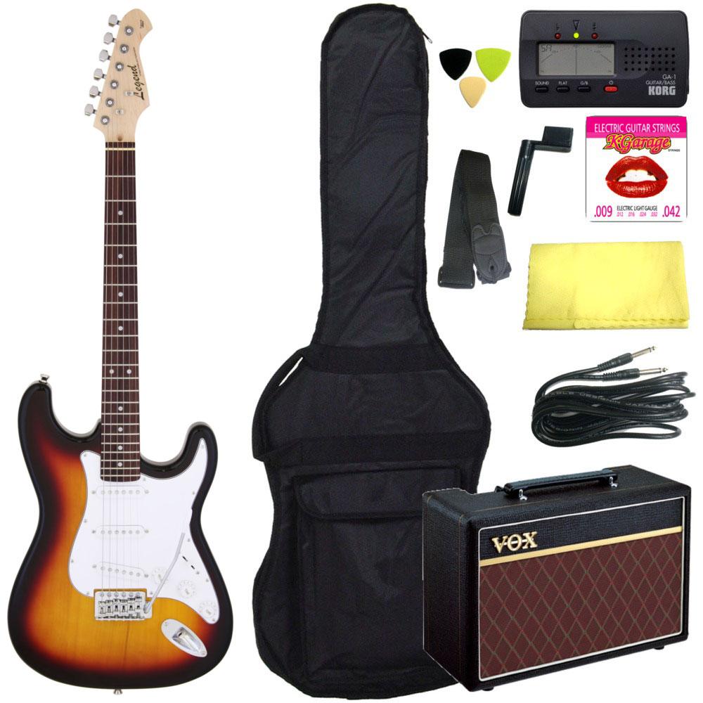 【送料込】【定番10点セット/VOXアンプ】Legend/レジェンド LST-Z 3TS(3 Tone Sunburst) ストラトキャスター エレキギター 初心者セット 入門セット【smtb-TK】