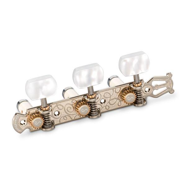 【送料込】Schaller シャーラー GTC Lyra NI60(40) [Nickel/Perloid white square(ボタン)/White deluxe(ポスト)] クラシックギター用ペグ(糸巻き)セット【smtb-TK】
