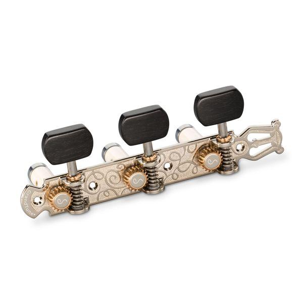【送料込】Schaller シャーラー GTC Lyra NI63(40) [Nickel/Ebony square(ボタン)/White deluxe(ポスト)] クラシックギター用ペグ(糸巻き)セット【smtb-TK】