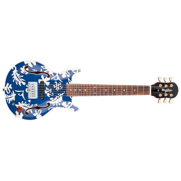 【送料込】Woodstics WS-MINI Blue & White Aloha 横山健 Ken Yokoyama プロデュース アンプ内蔵ギター 【smtb-TK】