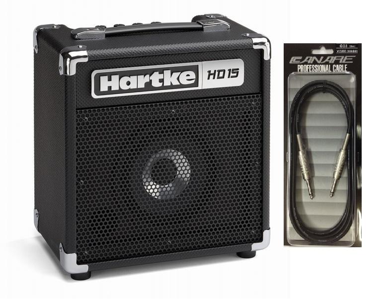 【送料込】【CANARE G03付】Hartke/ハートキー HD15 6.5インチHyDriveスピーカー搭載 ベースアンプ コンボアンプ【smtb-TK】