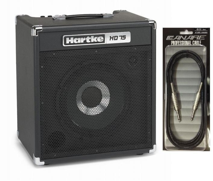 【送料込】【CANARE G03付】Hartke/ハートキー HD75 12インチHyDriveスピーカー搭載 ベースアンプ コンボアンプ【smtb-TK】