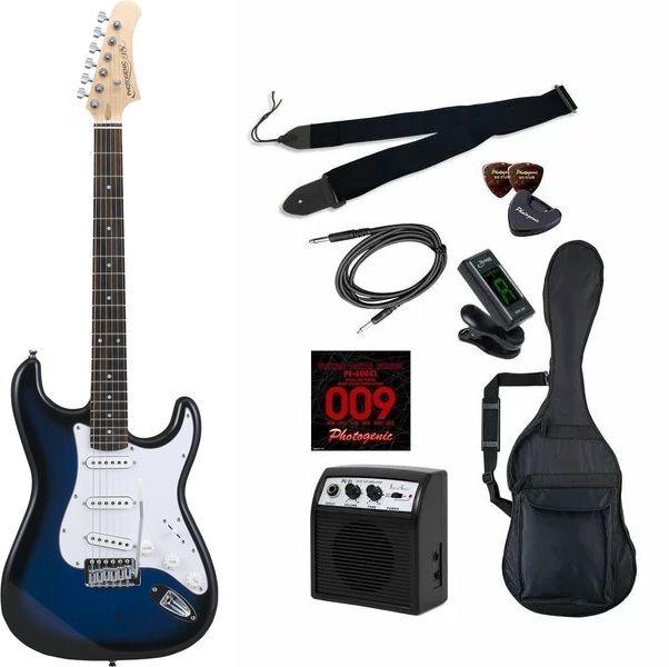 【送料込】【初心者入門9点セット】Photogenic ST-180/BLS エレキギター ライトセット【smtb-TK】