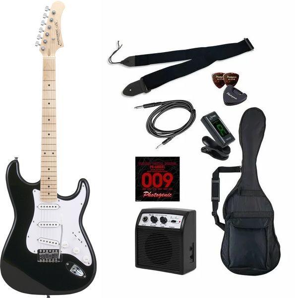 【送料込】【初心者入門9点セット】Photogenic ST-180M/BK エレキギター ライトセット【smtb-TK】
