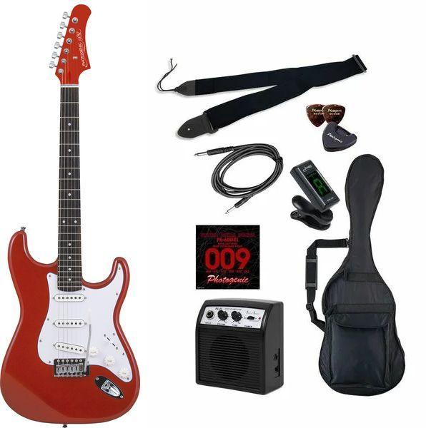 【送料込】【初心者入門9点セット】Photogenic ST-180/MRD エレキギター ライトセット【smtb-TK】