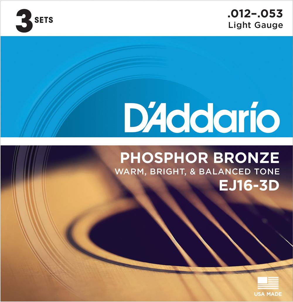 【メール便・送料無料・代引不可】D'Addario/ダダリオ EJ16-3D フォスファーブロンズ Light /3セットパック×6パック(計18セット)【smtb-TK】