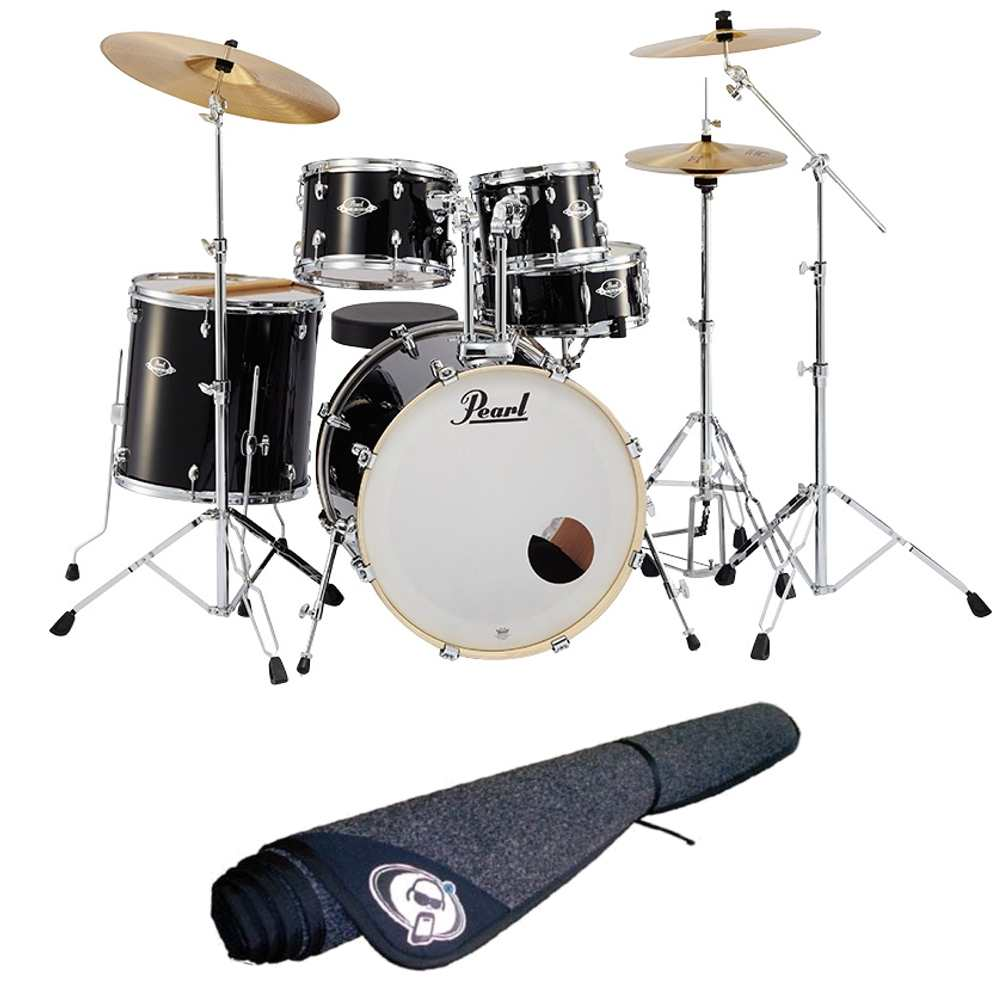 【送料込】【ドラムマット付】Pearl パール EXX725S/C No.31/ジェットブラック EXX Covering シンバル付ドラムフルセット【smtb-TK】