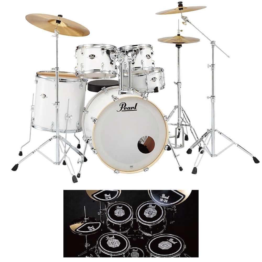 【送料込】【消音ラバーパッド付】Pearl パール EXX725S/C No.33/ピュアホワイト EXX Covering シンバル付ドラムフルセット【smtb-TK】