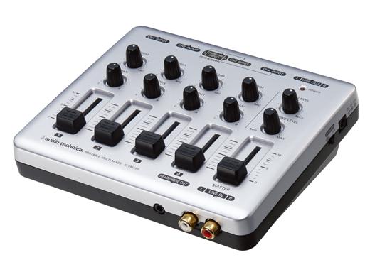 【送料込】オーディオテクニカ audio-technica AT-PMX5P マイク/ライン4系統を装備。プラグインパワー対応のステレオミニマイク入力搭載ポータブルマルチミキサー【smtb-TK】