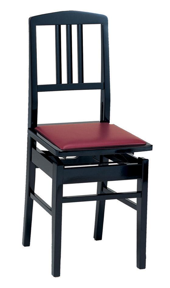 【送料込】甲南 No.5 (本体:黒/座面:エンジ) ピアノイス 背もたれ付高低自在ピアノ椅子 トムソン椅子【smtb-TK】