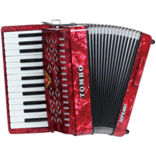 【送料込】TOMBO トンボ TB-27S ソプラノ 赤パール Ensemble 合奏用アコーディオン 27鍵【smtb-TK】