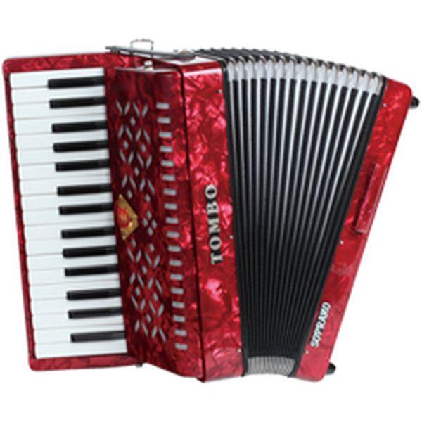 【送料込】TOMBO トンボ TB-32S ソプラノ 赤パール Ensemble 合奏用アコーディオン 32鍵【smtb-TK】