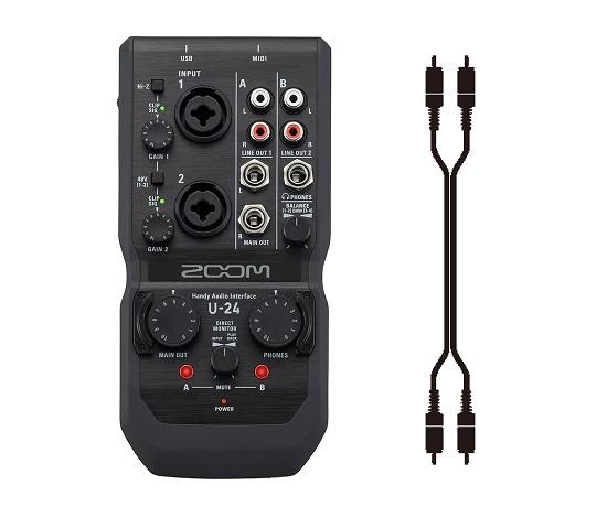 【送料込】【接続ケーブル付/ピン×2⇔ピン×2】ZOOM ズーム U-24 モバイルレコーディングに、ライブパフォーマンスに 2in/4out Handy Audio Interface【smtb-TK】