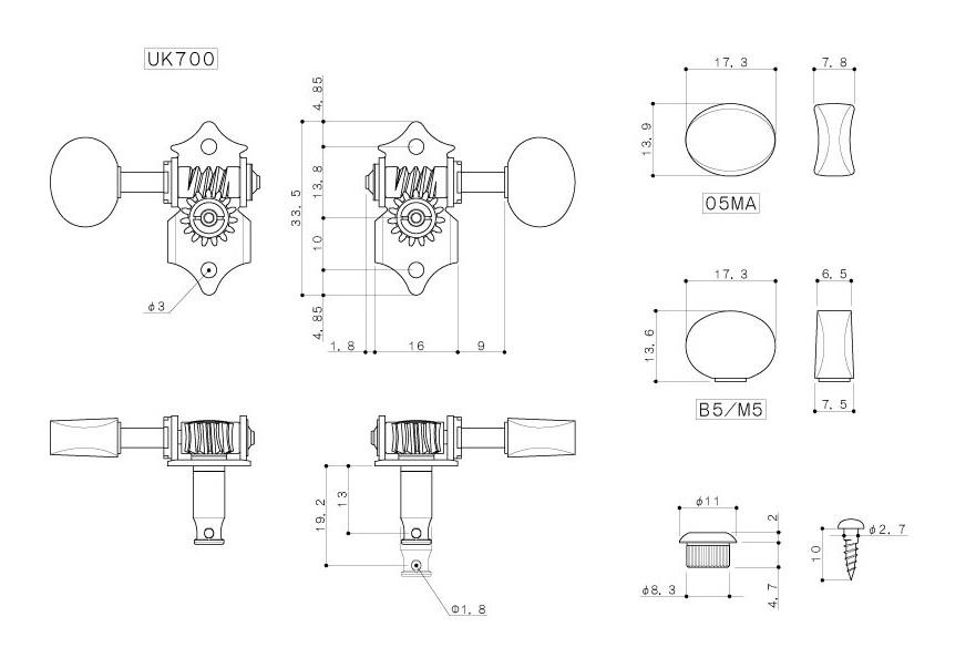 供GOTOH/goto UK700-05MA N尤克里里琴使用的标记4个安排/H.A.P.系统搭载