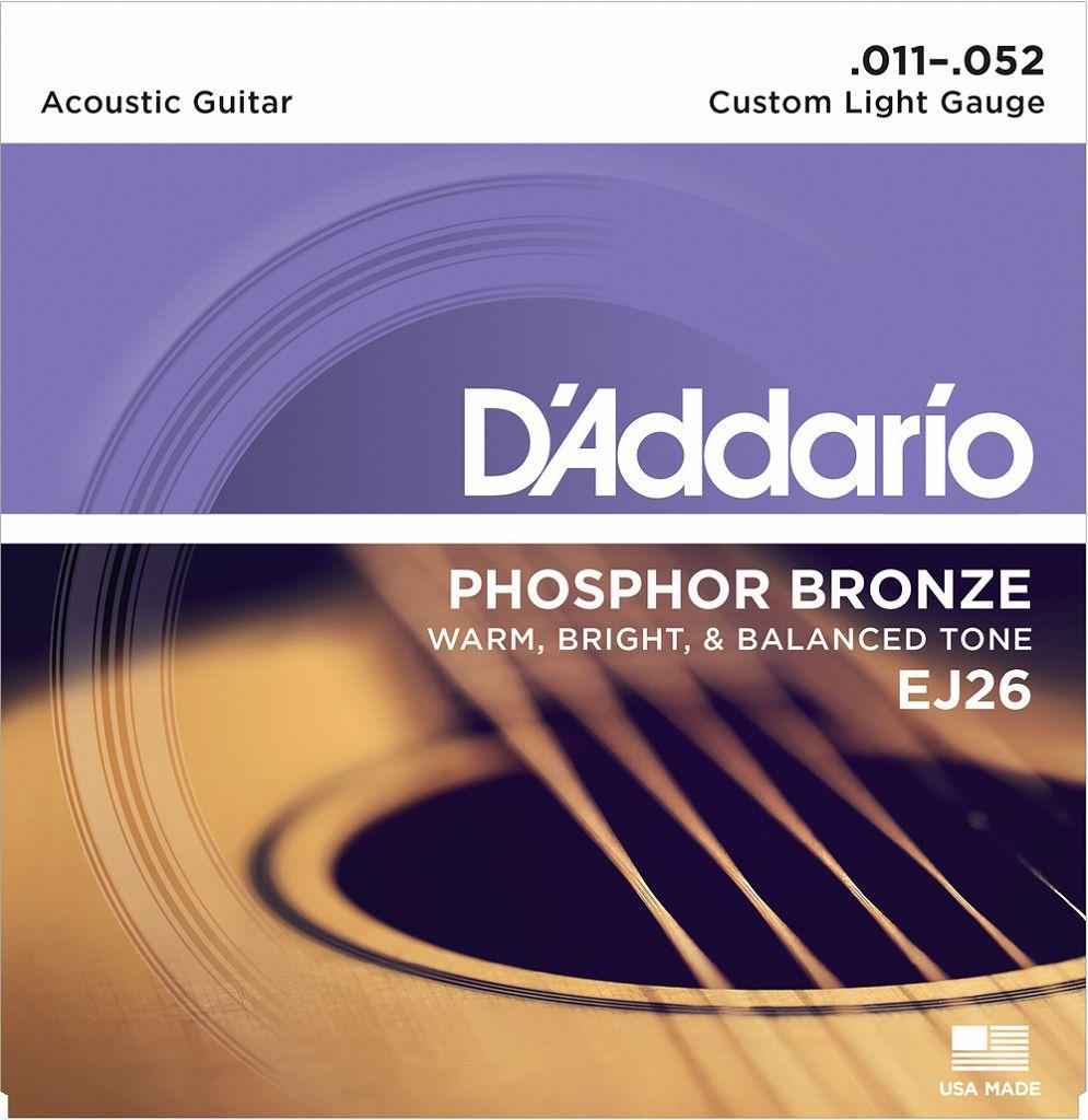 【メール便・送料無料・代引不可】【10セット】D'Addario/ダダリオ EJ26 Phosphor Bronze Round Wound Custom Light 【smtb-TK】