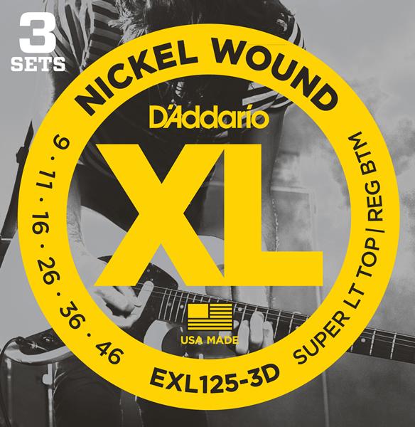 【メール便・送料無料・代引不可】D'Addario/ダダリオ EXL125-3D エレキギター弦 3セットパック×6パック(計18セット)【smtb-TK】