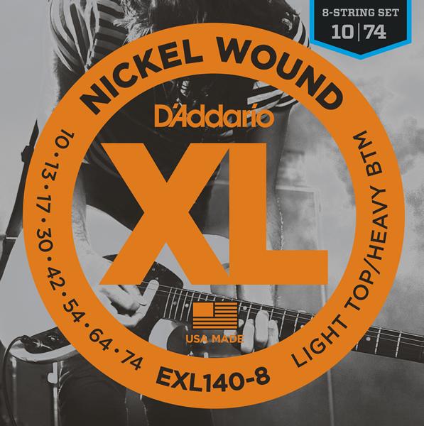 【メール便・送料無料・代引不可】D'Addario/ダダリオ EXL140-8 8弦ギター用LIGHT TOP/HEAVY BOTTOM[10-74]×10セット【smtb-TK】