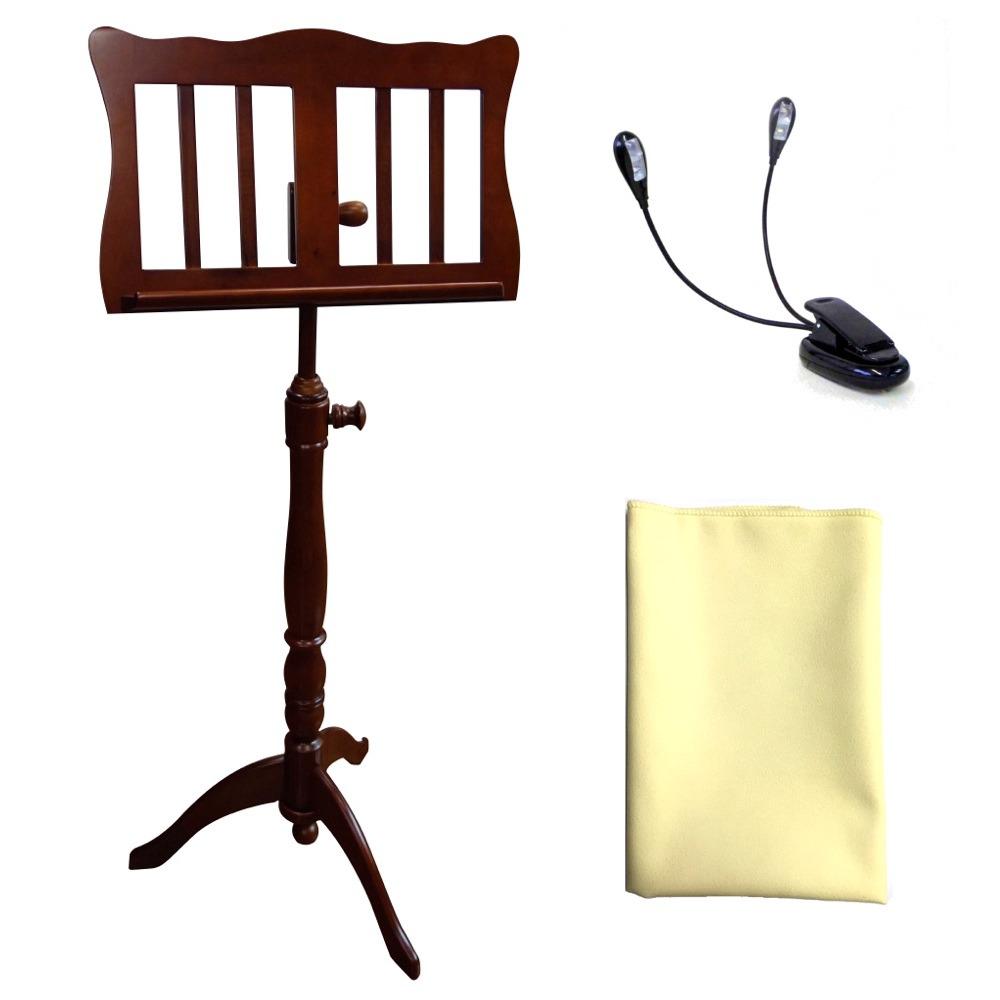 【送料込】【クリップライト + お手入れクロス付】KIKUTANI/キクタニ FS-0601/BRO(ブラウン) 木製譜面台 高級感のある家具調スタンド【smtb-TK】