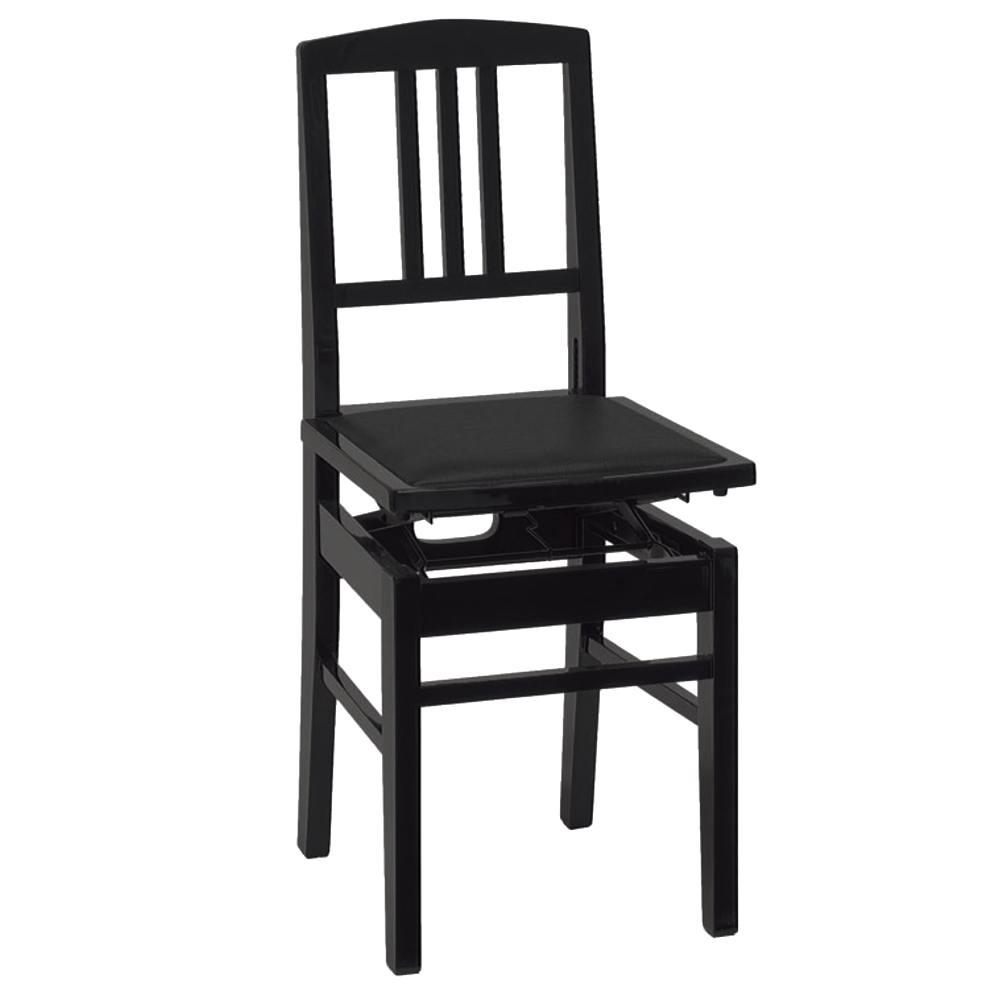 【送料込】甲南 No.5(本体:黒/座面:黒) 背もたれ付高低自在 ピアノ椅子 トムソン椅子【smtb-TK】