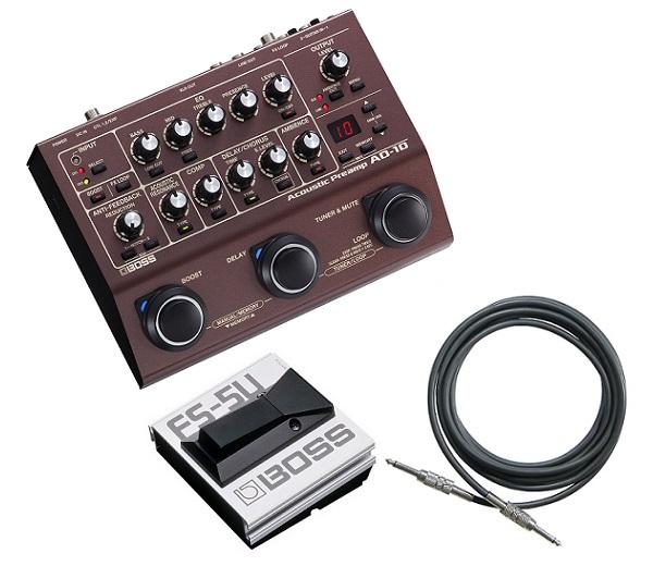 【送料込】【フットスイッチ/FS-5U+接続ケーブル付】BOSS ボス AD-10 Acoustic Preamp アコースティックギタープリアンプ【smtb-TK】