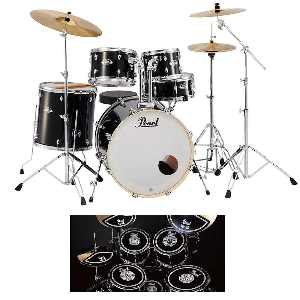 【送料込】【消音ラバーパッド付】Pearl パール EXX725S/C No.31/ジェットブラック EXX Covering シンバル付ドラムフルセット【smtb-TK】