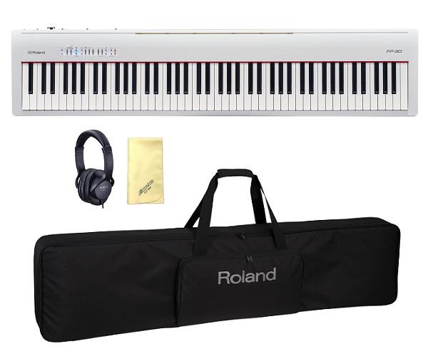 【送料込】【愛曲クロス付】【純正ケース/CB88RL+純正ヘッドホン/RH5付】Roland ローランド FP-30-WH 本格派ポータブル・ピアノ【smtb-TK】
