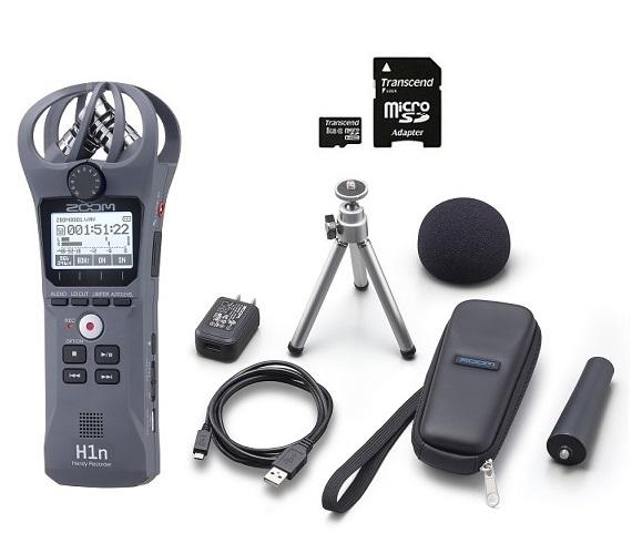 【送料込】【アクセサリパッケージ/APH-1n+microSDHCカード/8GB付】ZOOM ズーム H1n/G グレー シンプル操作の高音質レコーダー【smtb-TK】