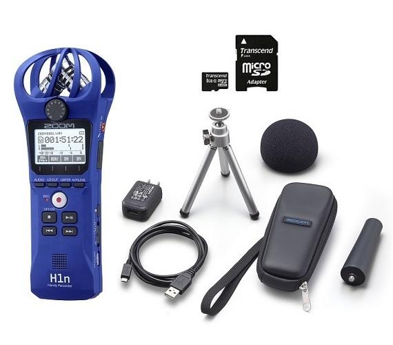 【送料込】【アクセサリパッケージ/APH-1n+microSDHCカード/8GB付】ZOOM ズーム H1n/L ブルー シンプル操作の高音質レコーダー【smtb-TK】