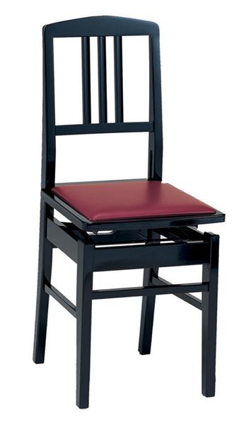 【送料込】甲南/KONAN No.5/黒 背もたれ付高低自在ピアノ椅子/トムソン椅子 日本製