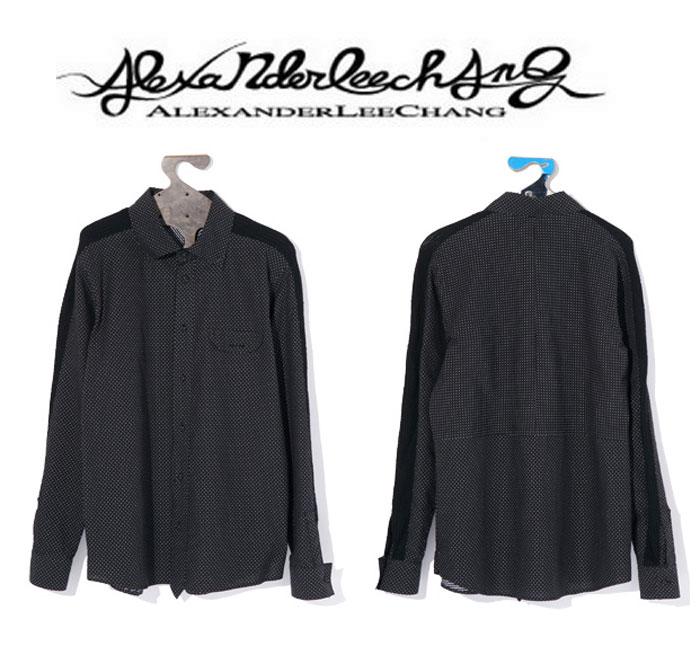 ALEXANDER LEE CHANG リーチャン メンズ シャツ SHOULDER RIB SHIRT サイズ2:BLACK【送料無料】