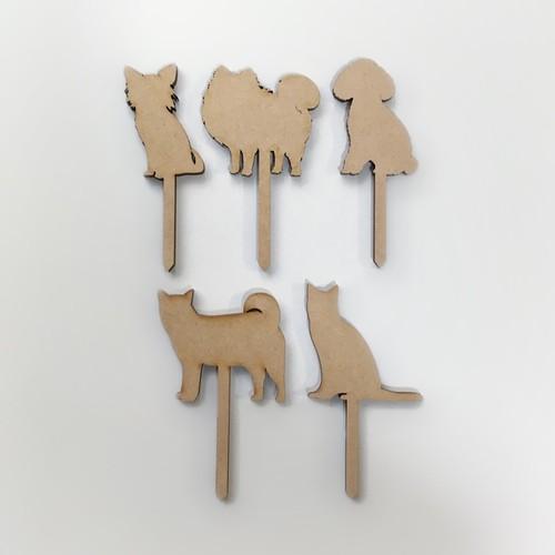《週末限定タイムセール》 動物 ケーキトッパー 5種 新品 ペット ウェディングケーキ トイプードル 柴犬 ポメラニアン ネコ 誕生日ケーキ