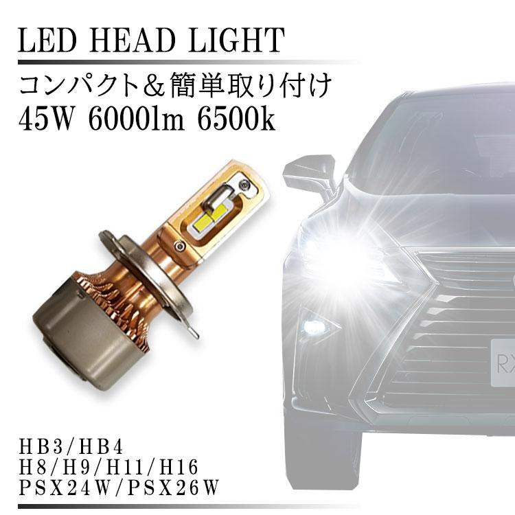 メール便送料無料 LED ヘッドライト H8 H9 H11 H16 HB3 HB4 6000lm 6500k 12V 45W ファン アルミボディ ホワイト 白 ルーメン