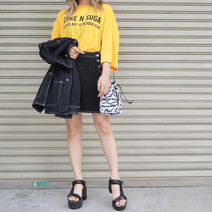 White Stitch Black Denim Jacket&Skirt 2P SETUP【セットアップ】【ブラックデニム】【デニムジャケット】【デニムスカート】【セットアップ】【Gジャン】【ADG】【A.D.G】【エーディージー】