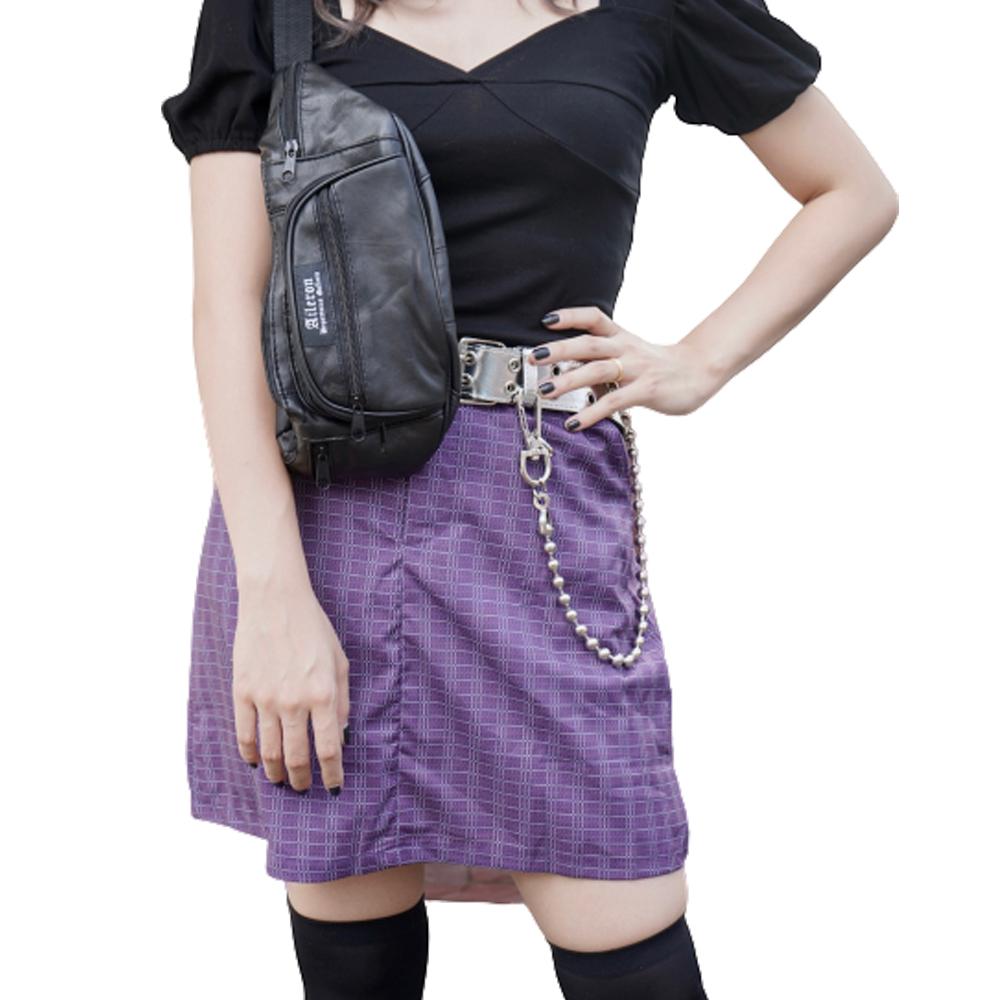 Grid Check Mini Skirt (purple) チェック柄 紫 ポケット zip ジップ ファスナー 膝上 ポケット ベルトループ 柄有 ADG A.D.G エーディージー