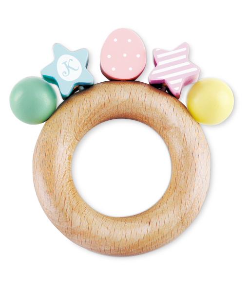 パーティーラトル KT-70003 / やさしい木製おもちゃ 赤ちゃん 知育玩具 木製 STマーク取得 安全 ギフト プレゼント おしゃれなデザイン やさしい色使い フランス産無垢ブナ材 ベビー
