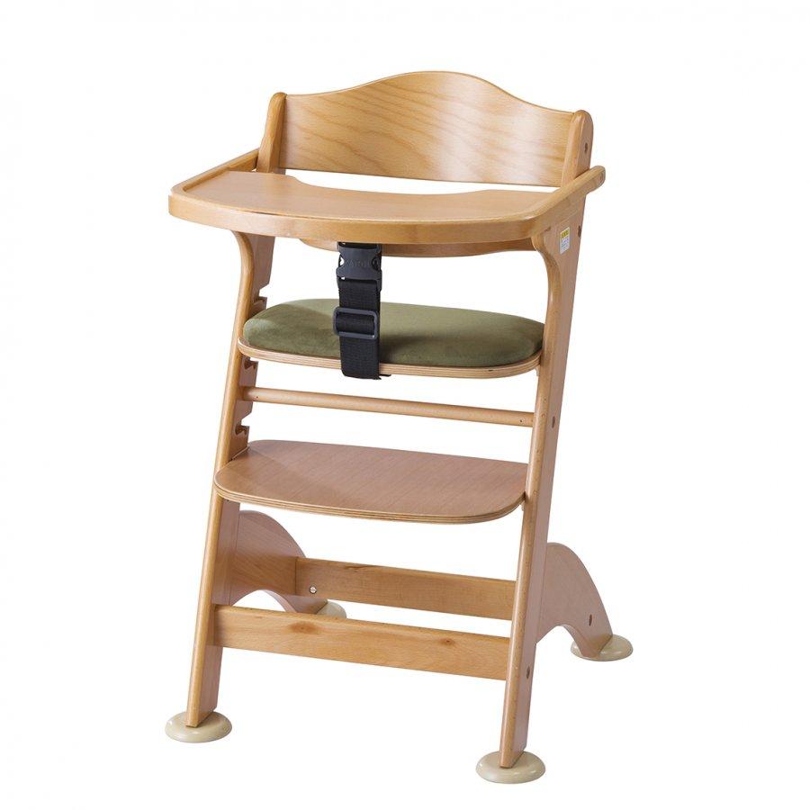 【欠品中】カトージ 高さ調節ができるベビーチェアファニカ テーブル付き クッション付きマッチャ 22816 / 木製ハイチェア キッズチェア ステップ切り替え 高さ調節 セーフティベルト付 クッション付き