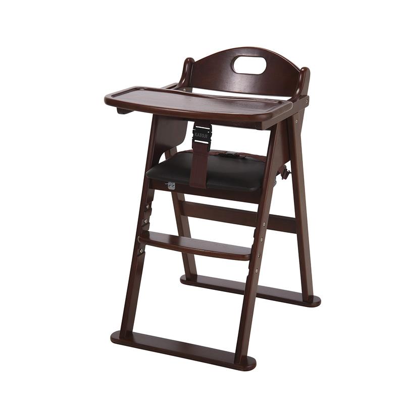 カトージ 木製ワイドハイチェア ステップ切り替えブラウン (22409) / ベビーチェア テーブル付 折りたたみ 7ヵ月から YKK製股ベルト付 回せるテーブル 4段階に高さ変更可能