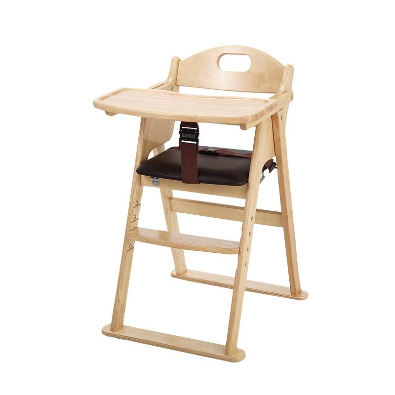 カトージ 木製ワイドハイチェア ステップ切り替えナチュラル (22408) / ベビーチェア テーブル付 折りたたみ 7ヵ月から YKK製股ベルト付 回せるテーブル 4段階に高さ変更可能