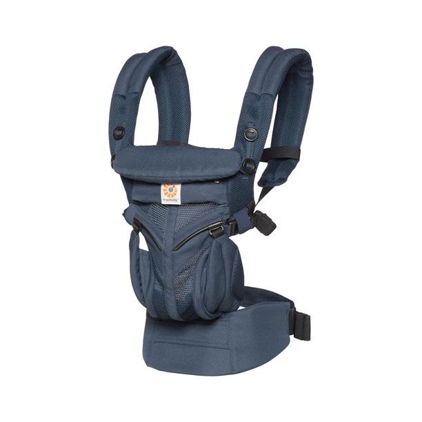 エルゴベビー ベビーキャリア OMNI360 クールエア ミッドナイトブルー CREGBCS360PMIDBLU 専用ポーチ付 / 対面抱き 腰抱き おんぶ 前向き抱っこ 最長2年保証 日本正規品【0ヶ月~3歳】