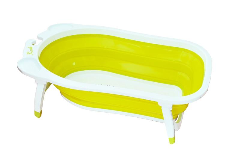 リトルプリンセス フォールディングバス オリーブ / 沐浴 バス お風呂 おふろ ベビーバス たためる 収納 スリム 水抜き 水遊び