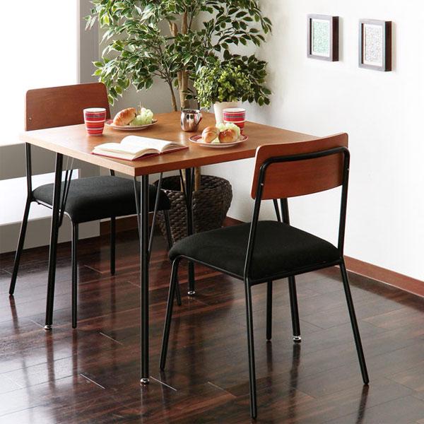 ダイニングセット 2人用 3点セット カフェテーブル 椅子 テーブル 幅78cm チェア 2脚 モダン 食卓セット ♪