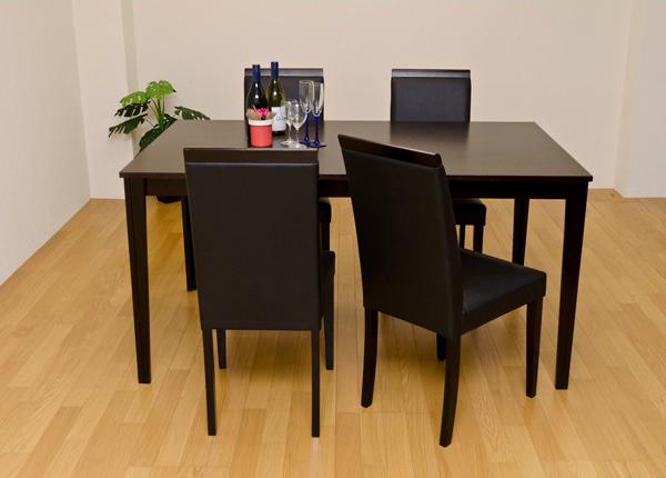カントリー調 ダイニングセット5点セット ダイニング4人用 ダイニングテーブル 幅150cm 椅子4脚 天然木製 ♪
